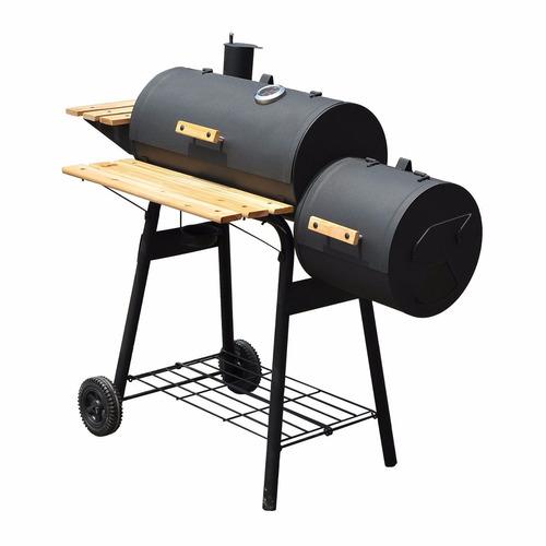 asador con ahumador carnes exterior patio bbq carbón madera