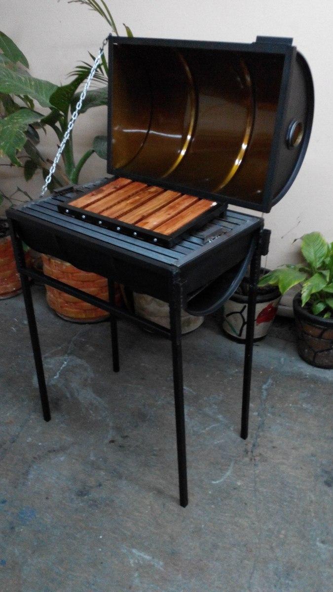Asador de carb n para jard n con tambo patas desmontables for Asadores para carne jardin