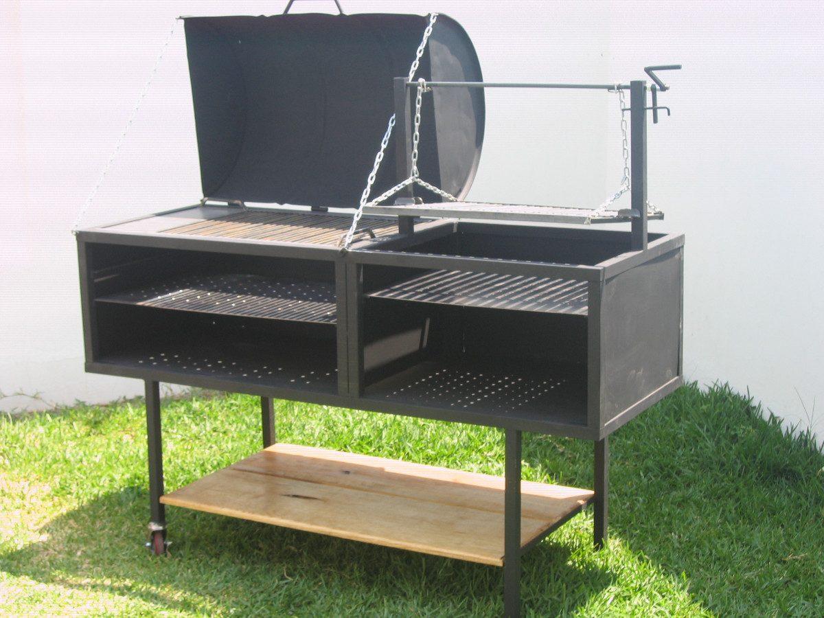 Asador de carne argentino con ahumador pollero 6 000 for Asador para jardin