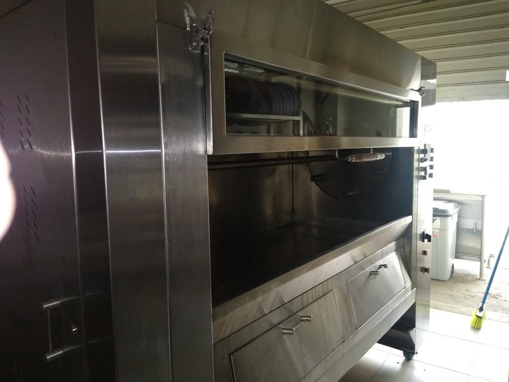 asador de pollo en acero inoxidable para 48 pollos.