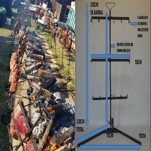 asador estaca grande regulable cruz portatil reforzado