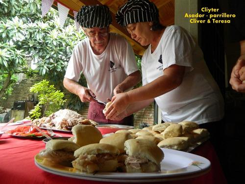 asador parrillero, perniles y empanadas al disco a domicilio