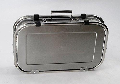 asador portafolio de acero inoxidable