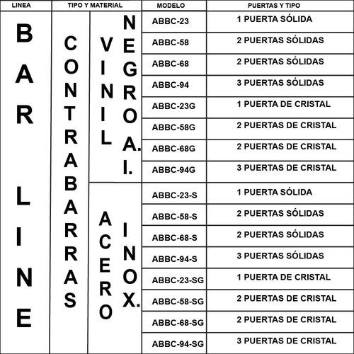 asber abbc-58-sg refrigerador contrabarra 2 puertas xxcon2