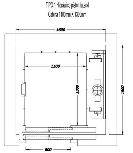 ascensor hidráulico 4 paradas 450kg  instalado (120 días)