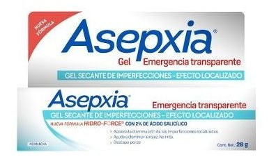 asepxia gel emergencia transparente x 28grs