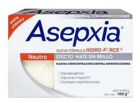 asepxia jabón en barra neutro efecto mate sin brillo 100grs