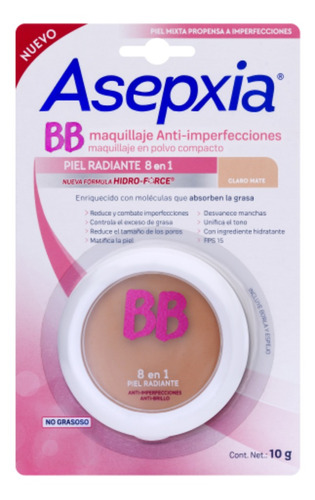 asepxia maquillaje polvo color beige claro mate h. force 10g