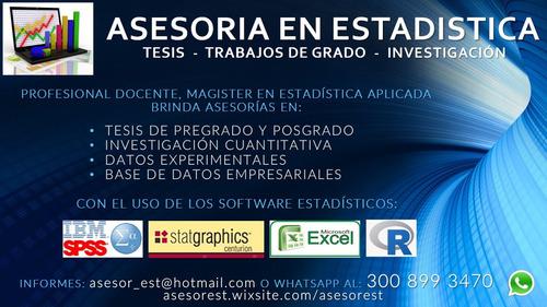 asesoría estadística para tesis, artículos, investigación