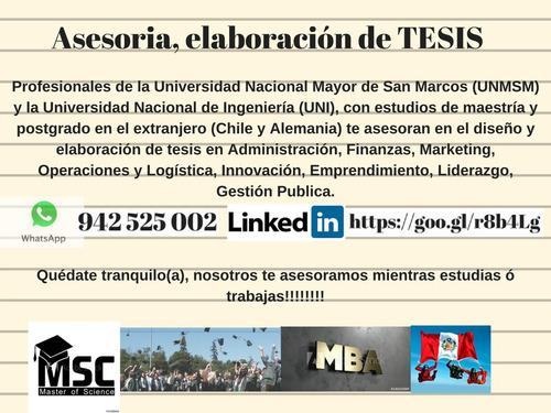 asesoría proyectos, tesis, plan negocio cel/wasap: 942525002