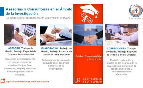 asesoría tesis, trabajos de grados, artículos ensayos tareas