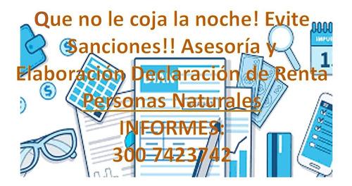 asesoría y elaboración, declaración de renta persona natural