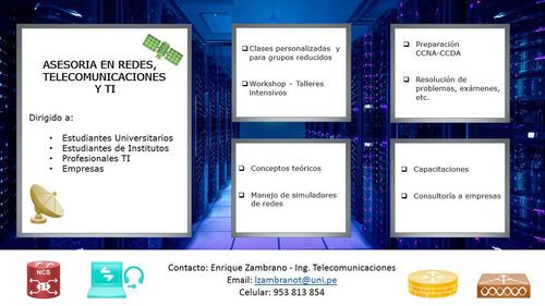 asesoria/clases de networking, telecomunicaciones y ti