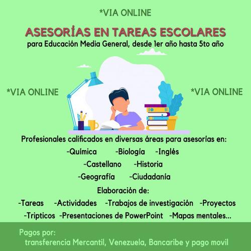asesorias en tareas escolares para educación media general