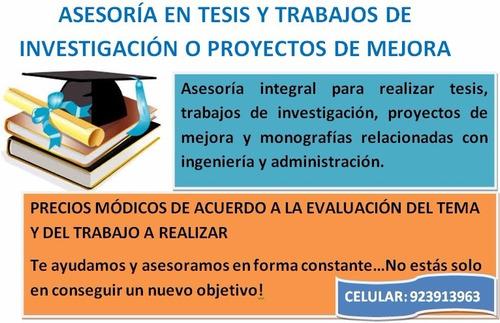 asesorias en temas de tesis y proyectos de mejora