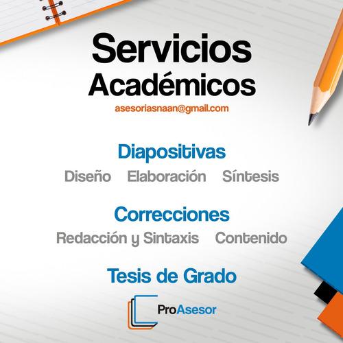 asesorías en trabajos de grado, correcciones, normas, tesis