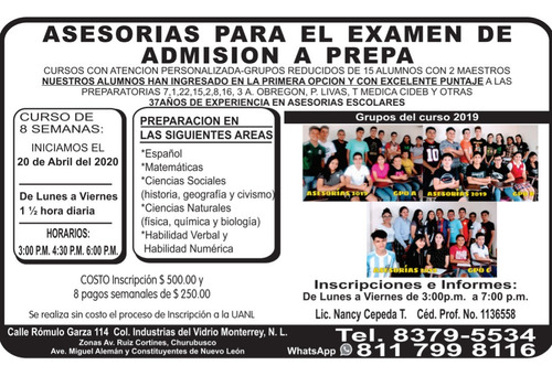 asesorías examen admisión a prepa