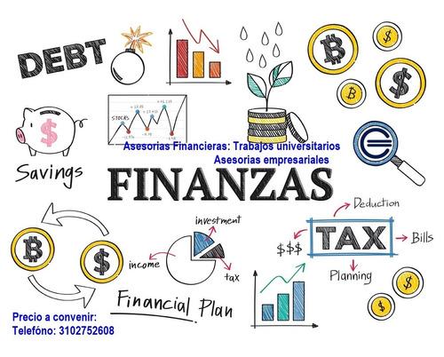 asesorias, trabajos, servicios en finanzas excel,