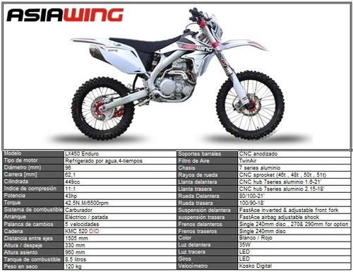 asiawing lx 450 enduro - dólar oficial -  (no crf - wr)