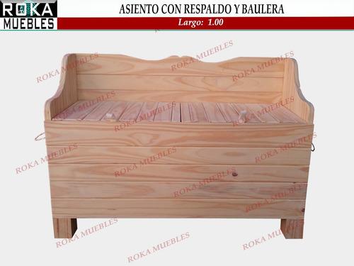 asiento con respaldo y baulera de madera 1.00 pino baul roka