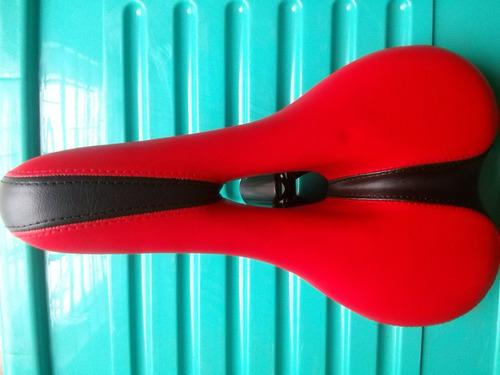 asiento de bicicleta prostático, color negro y rojo