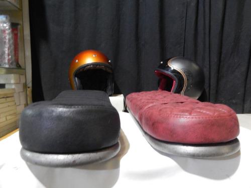 asiento de cuerina con chasis para moto cafe racer scrambler