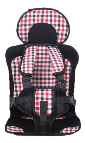 asiento para auto infantil ligero portátil tela escoces roja