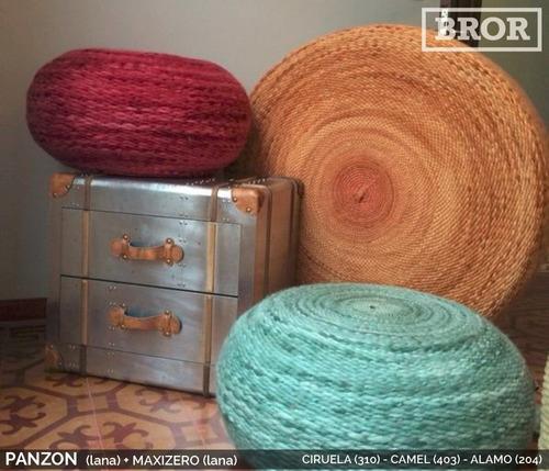 asiento puff de lana panzón. ø60x30cm [bror]