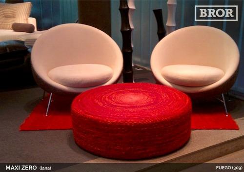 asiento puff de lana subzero. ø50x30cm [bror]