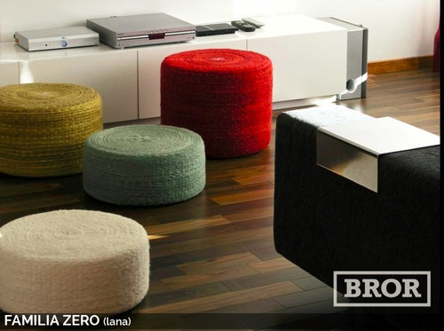 asiento puff de lana zero. ø50x40cm [bror]