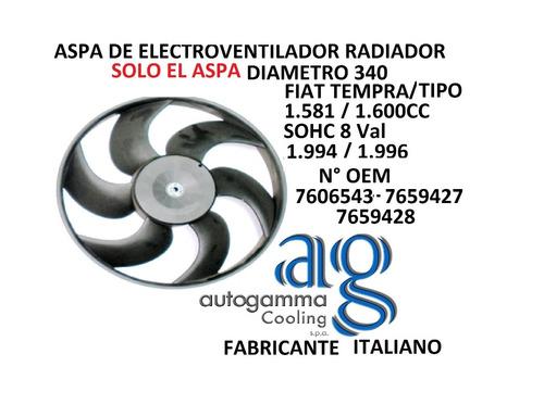 aspa electroventilador radiador autogamma fiat tempra1.600cc