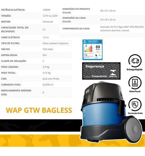 aspirador de pó e água 1400w gtw bagless 6l wap