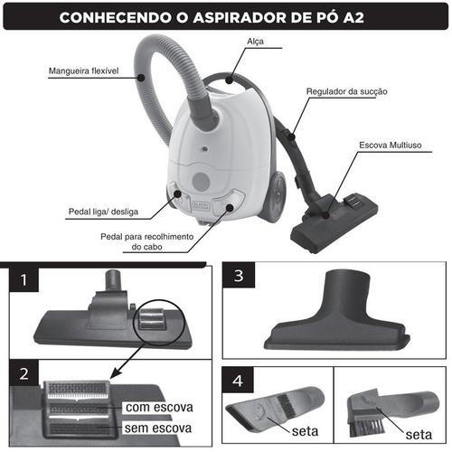 aspirador de pó portátil a2b black e decker - 1200w