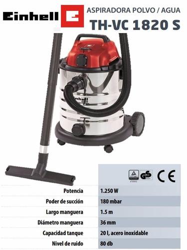 aspiradora industrial einhell 20 l polvo liquido tacho inox