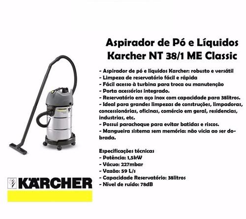 aspiradora karcher 110v nt me classic 38l/ 1600w 71l/s