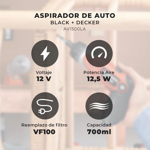 aspiradora para auto 12v portatil black decker +5 accesorios