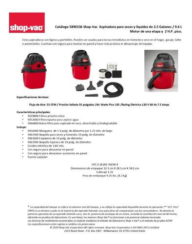 aspiradora portatil seco mojado 2.5 gal 2.0 hp  shop vac