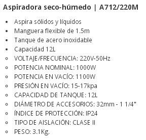 aspiradora seco humedo 12lts 1100w glad. a712/220m herracor
