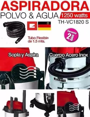 aspiradora sopladora einhell 1,7hp 20l acero inox polvo liqu