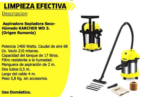 aspiradora sopladora seco-húmedo wd 3 premium 1400w karcher