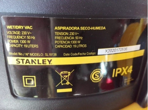 aspiradora - stanley - potencia 1300 w - capacidad 19 lts