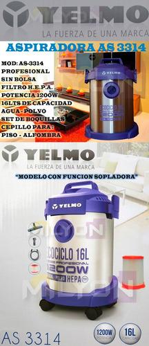 aspiradora yelmo sopladora agua polvo as-3314 16lts hepa