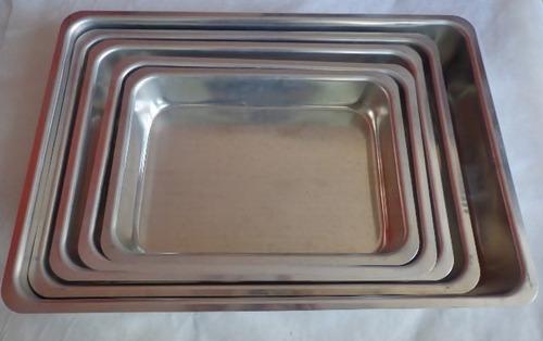 assadeira retangular alta conjunto com 5 peças em aluminio