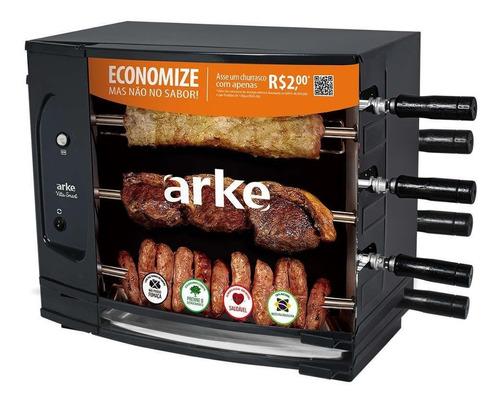 assador elétrico arke vitta smart 03 espetos rotativo 220v