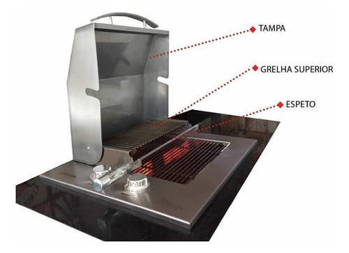 assador grill diamond de embutir a gás com tampa