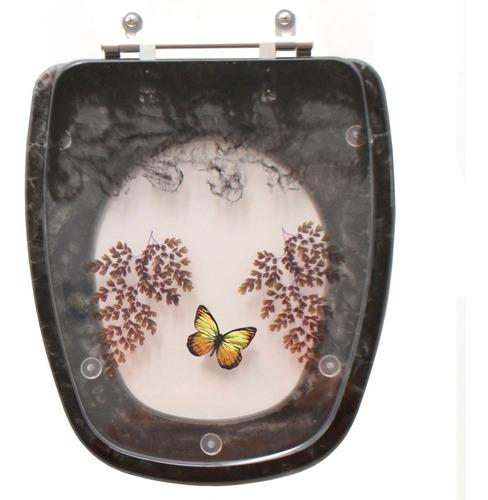 assento sanitário decorado monte carlo preto para louça deca