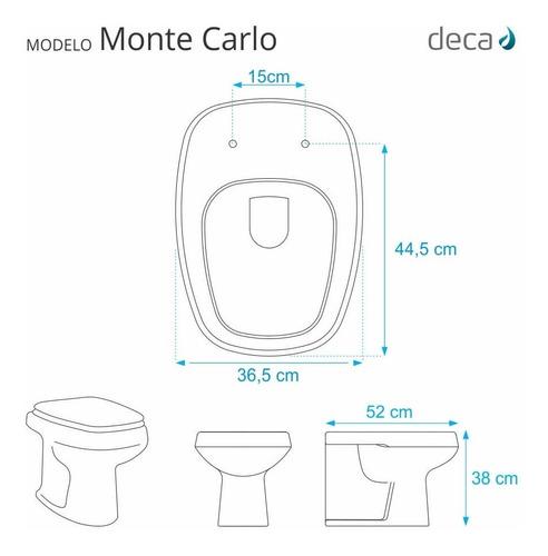 assento sanitário poliéster monte carlo branco p/ vaso deca