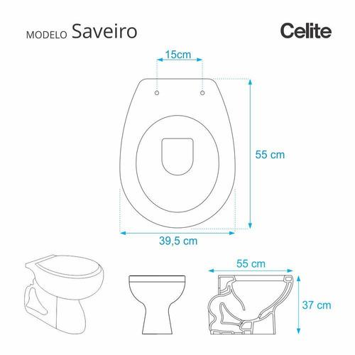 assento sanitário poliéster saveiro cinza prata para louça celite