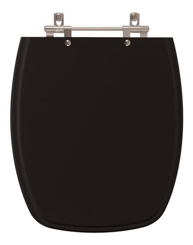 assento sanitário poliéster stylus preto para louça celite