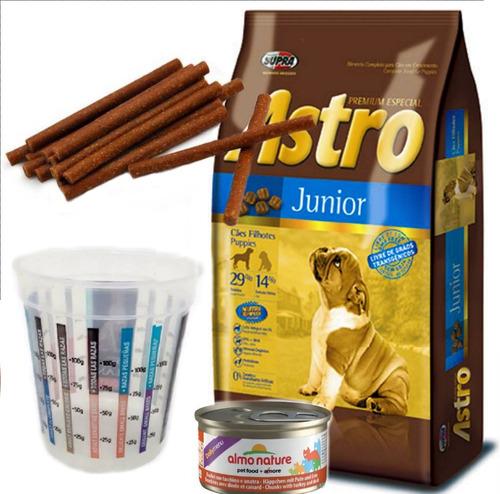 astro junior cachorro 15 kg con vaso dosificador y snacks